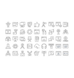 Set flat line icons blogging vector