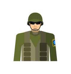 Soldier portrait military in protective helmet vector
