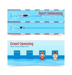 Sport swimming grand openning banners set vector