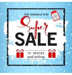Super sale on a blue background Brush stroke vector image