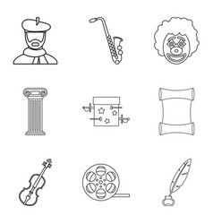 Talent icons set outline style vector