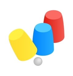 Three game thimbles with a ball isometric 3d icon vector