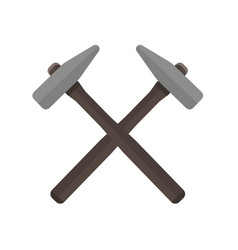 Two hammers crossed with each other vector