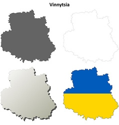 Vinnytsia blank outline map set vector image vector image