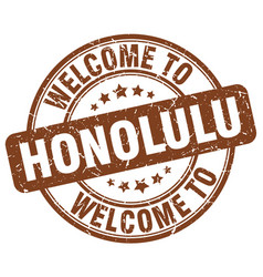 Welcome to honolulu brown round vintage stamp vector