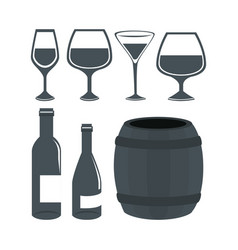 wine set bottles isolated icon vector image vector image