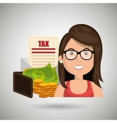 Woman money currency tax vector