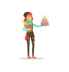 Young girl with cake and pack of foods vector