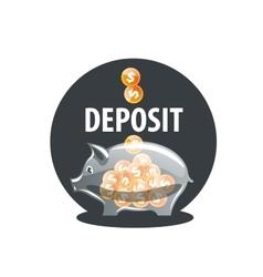logo piggy bank vector image