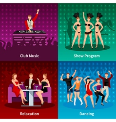 Dance club 4 flat icons square vector