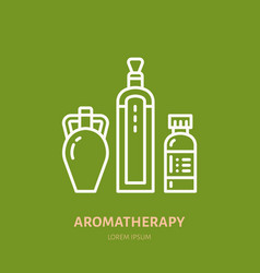 Essential oils bottle line icon logo for vector