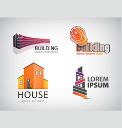 Set of building logos house office real vector