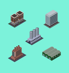 Isometric building set of water storage house vector