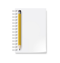Notebook with yellow pencil on white background vector
