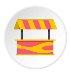 Street stall with striped awning icon circle vector