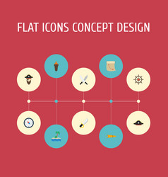 Flat icons pirate hat sword treasure map and vector