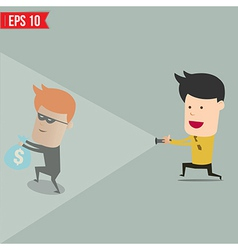 Businessman use flashlight find thief steal idea vector