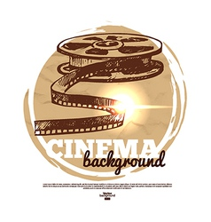 Vintage movie cinema banner with hand drawn sketch vector
