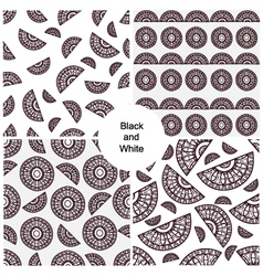 Abstract black and white seamless patterns set vector