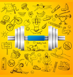 Healthy lifestyle background with dumbbell vector