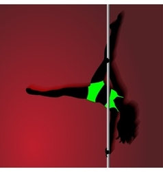 Pole dancer in bright green sport clothes sexy vector