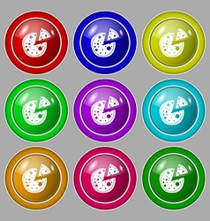 Pizza icon symbol on nine round colourful buttons vector