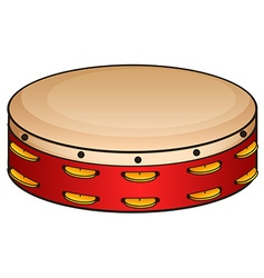 Red tambourine on white vector