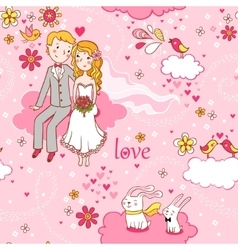 Cartoon romantic seamless pattern in vector