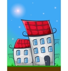 Cartoon landscape with houses in german style vector