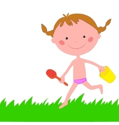 Girl runs across grass with scoop and backet vector