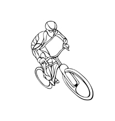 Abstract silhouette of bicyclist Black bike vector image vector image