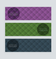 banners set in three different colors vector image vector image