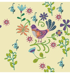 birds and flowers pattern vector image vector image