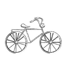 black blurred silhouette cartoon antique bicycle vector image