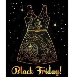 Black friday background golden on black with dress vector image