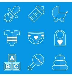 Blueprint icon set baby children family vector