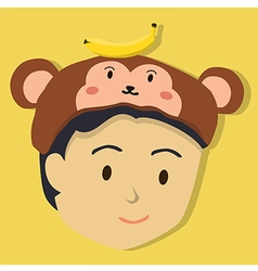 Boy with Monkey Hat vector image