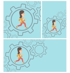 Business woman running inside the gear vector image vector image