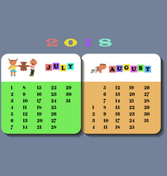 calendar 2018 with cute children vector image vector image