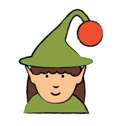 Cartoon elf girl icon vector