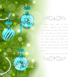 Christmas Glowing Card with Fir Twigs vector image vector image