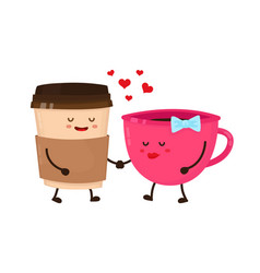 coffee cups love flirt flat style vector image