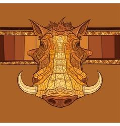 Decorative warthog head vector