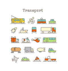 Different thin line color icons set transport vector