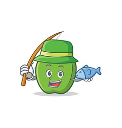Fishing green apple character cartoon vector