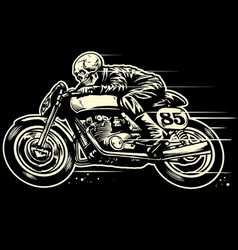 hand drawing of skull riding vintage motorcycle vector image vector image