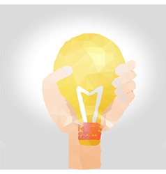 hand with bulb polygon design vector image