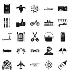 Leisure at the hotel icons set simple style vector