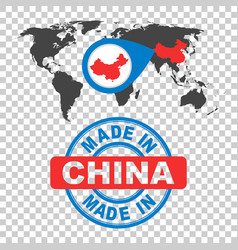 Made in china stamp world map with red country vector