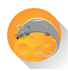 Mouse cartoon with cheese vector